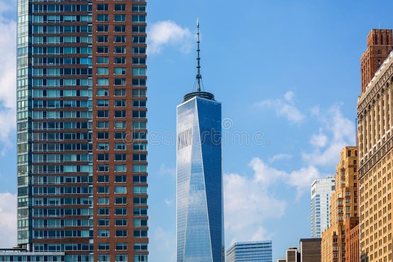 降低曼哈顿新的地平线自由塔美国 库存照片