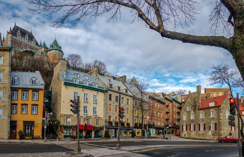 降低老镇Basse-Ville和Frontenac城堡-魁北克市,魁北克,加拿大 免版税图库摄影