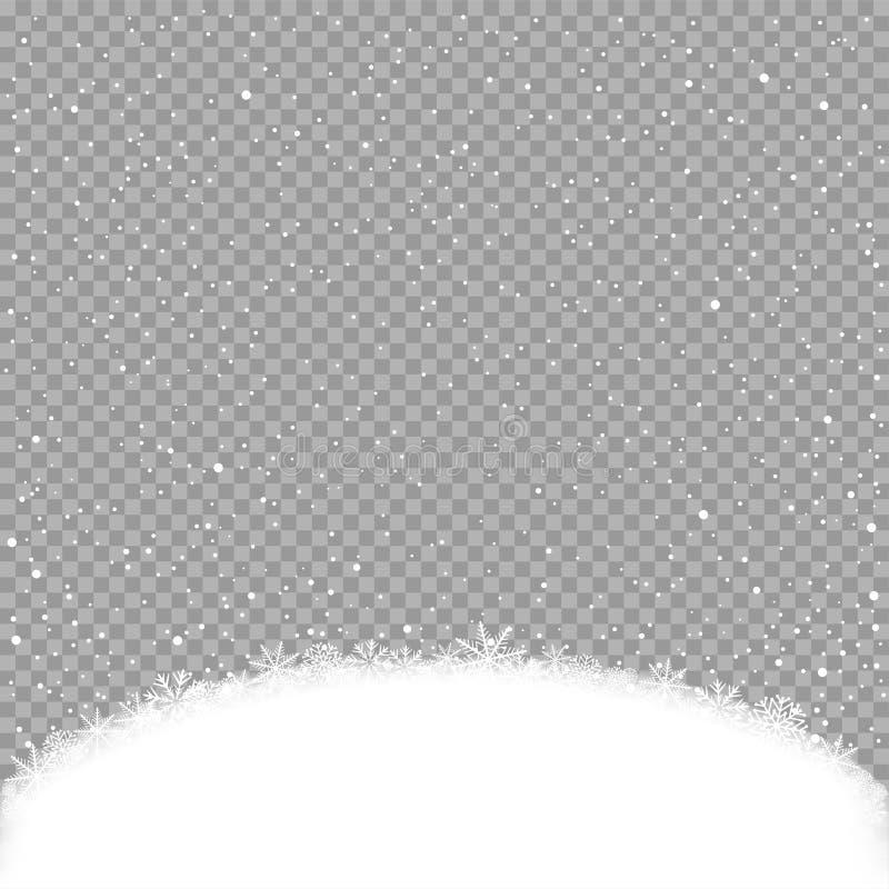 降雪和雪小丘模板 库存例证