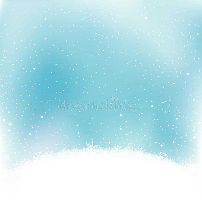 降雪和雪小丘 向量例证