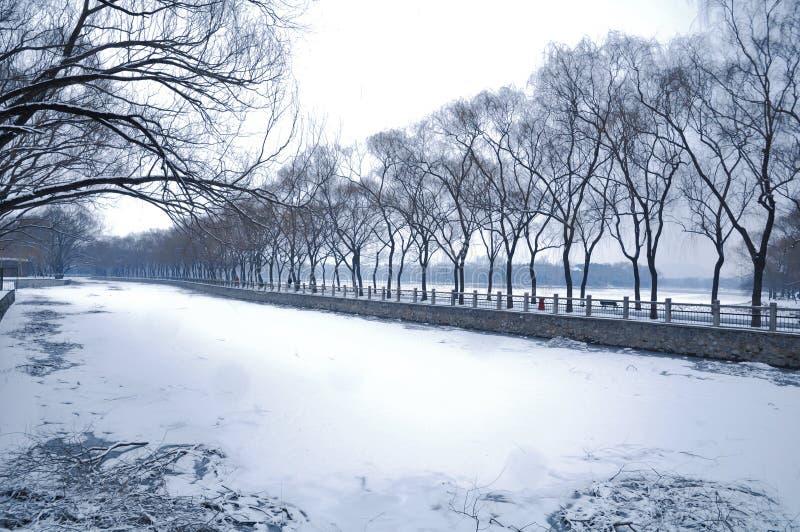 降雪在颐和园 免版税库存图片