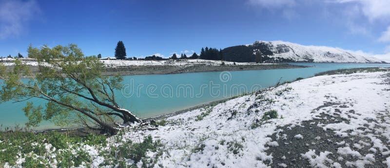 降雪特卡波湖,新西兰 图库摄影