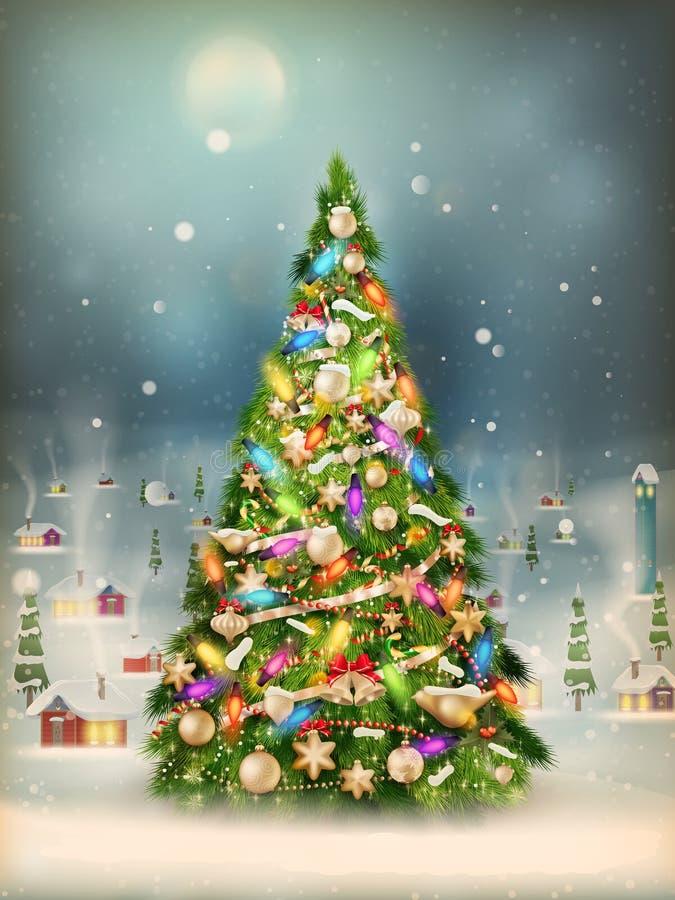 降雪用树包括了一点村庄 10 eps 库存例证