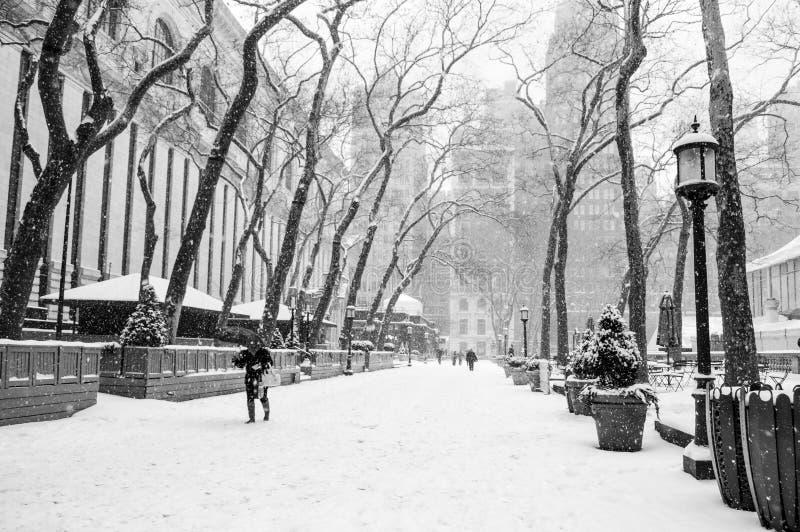 降雪的布耐恩特公园 图库摄影