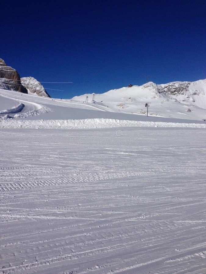 降雪, Dachstein冰川 免版税图库摄影