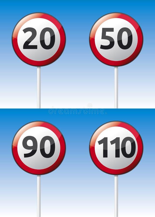 限速交通路板 皇族释放例证
