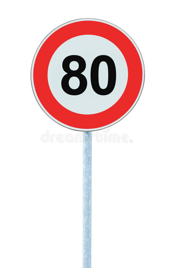 限速区域警告路标,被隔绝禁止80 Km公里公里最大交通局限顺序,红色圈子 库存照片