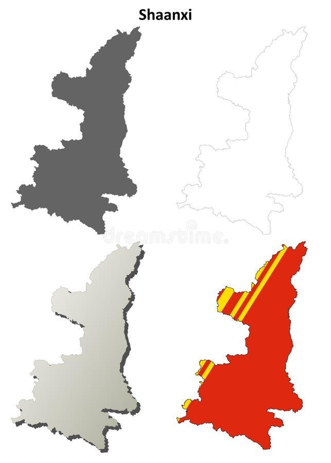 陕西空白概述地图集合 库存例证