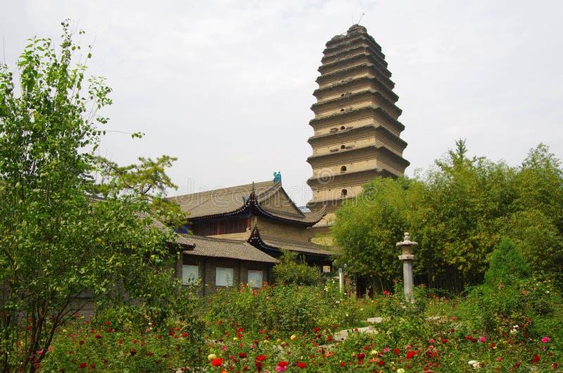 陕西西安小狂放的鹅塔 免版税库存图片