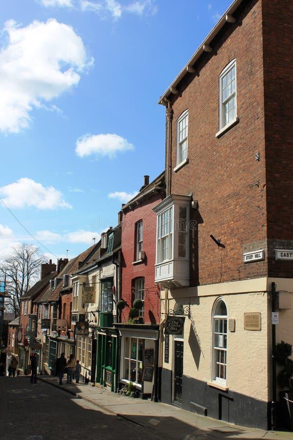 陡峭的小山英国的了不起的街道2012年优胜者 免版税库存图片
