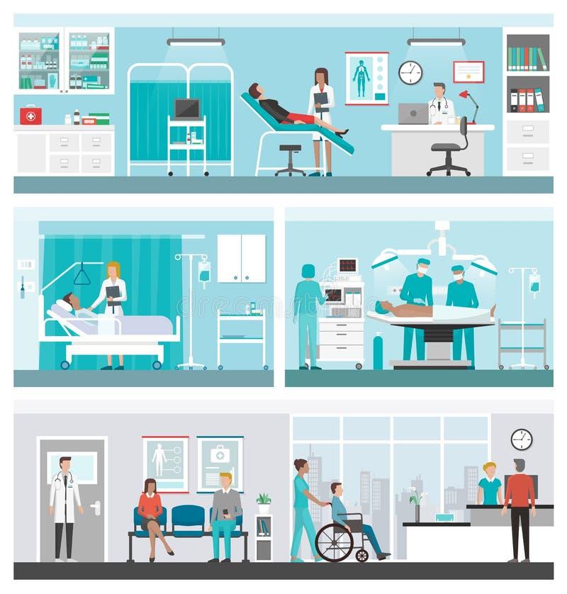 医院和医疗保健横幅集合 皇族释放例证