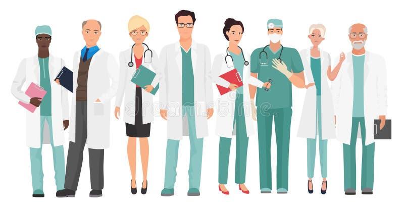 医院医护人员队一起医治 小组医生和护士人字符集 向量例证