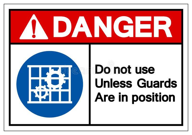 除非卫兵是在位置标志标志,传染媒介例证,在白色背景标签的孤立危险不使用 EPS10 向量例证
