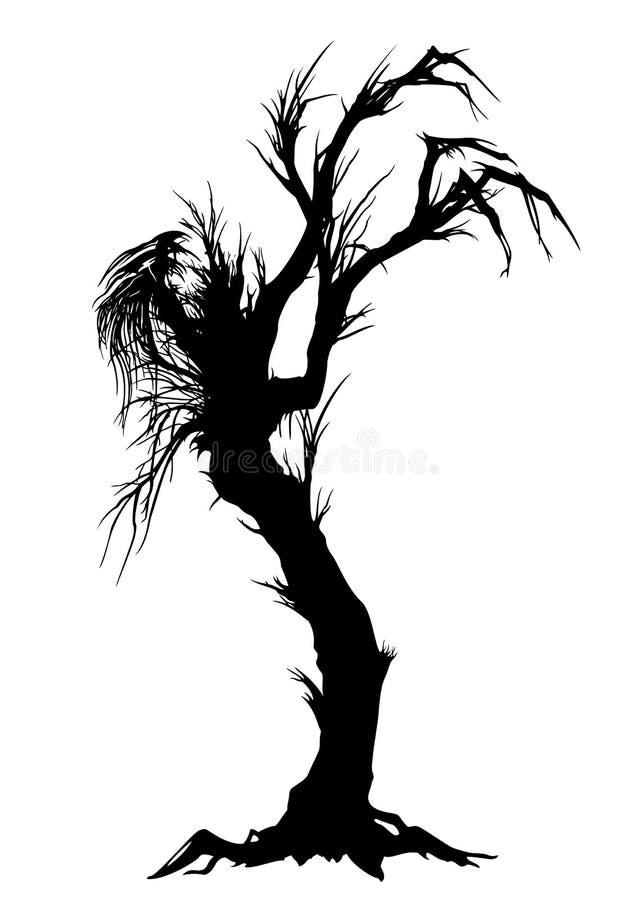 阴险树剪影 向量例证