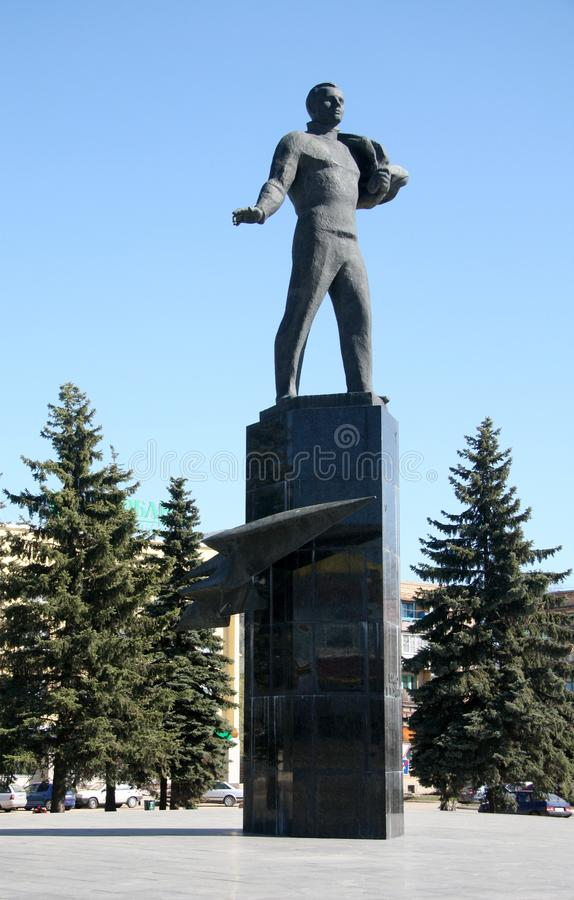 陪审员加加林的纪念碑在加加林市 免版税库存照片