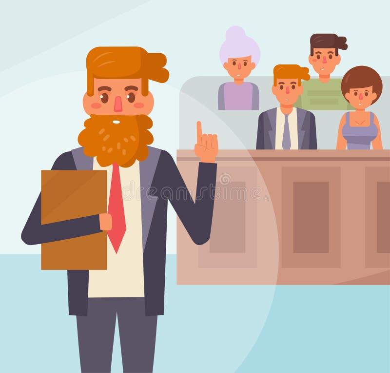 陪审员法庭上 向量 动画片 向量例证