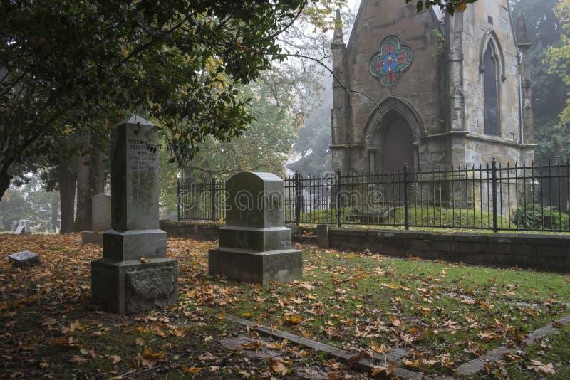 陵墓在雾的一座老先驱公墓 免版税库存图片
