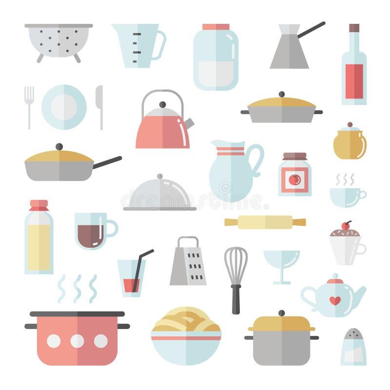 陶器和烹调平的象正方形传染媒介集合 库存例证