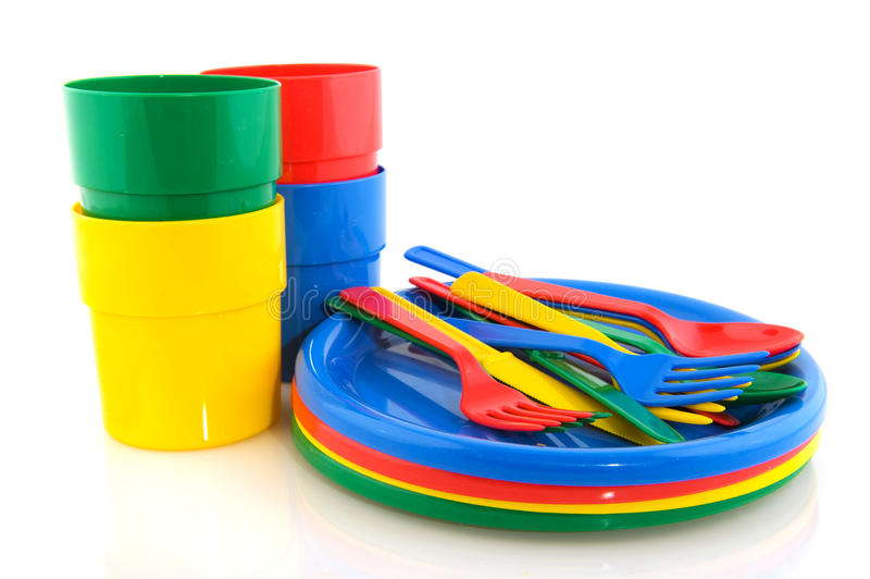 陶器野餐塑料 免版税库存照片