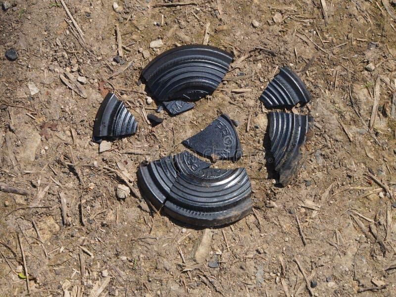 陶土飞靶目标捣毁了 图库摄影