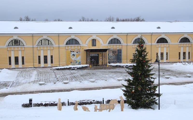 陶格夫匹尔斯,拉脱维亚,欧洲 陶格夫匹尔斯马克・罗斯科艺术中心在冬天 这是多功能当代艺术和文化centr 免版税库存照片