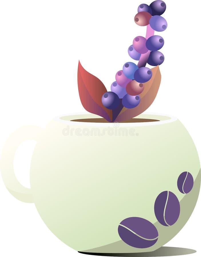 陶瓷咖啡杯 画以咖啡豆的形式 在杯子外面的咖啡树棍子小树枝  库存照片