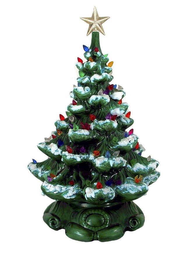 陶瓷圣诞节绿色结构树 库存照片