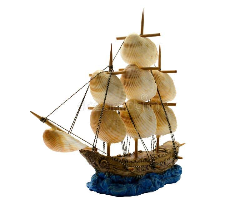 陶瓷小船,家庭装饰 船的被隔绝的图象 免版税库存图片