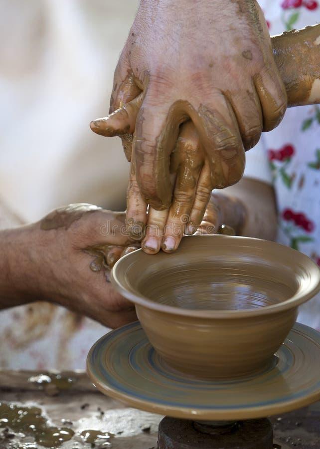 陶瓷工黏土碗 库存图片