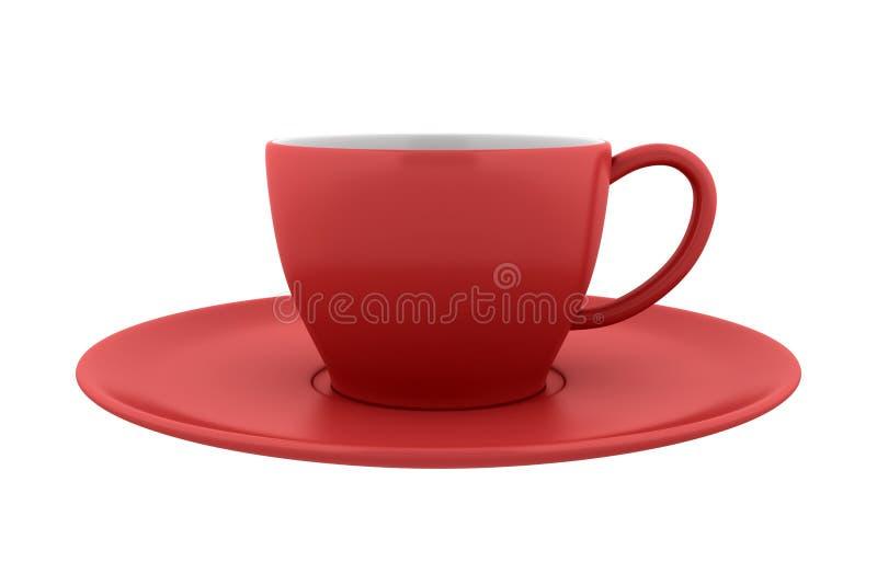 陶瓷杯子查出的红色茶碟白色 免版税库存图片