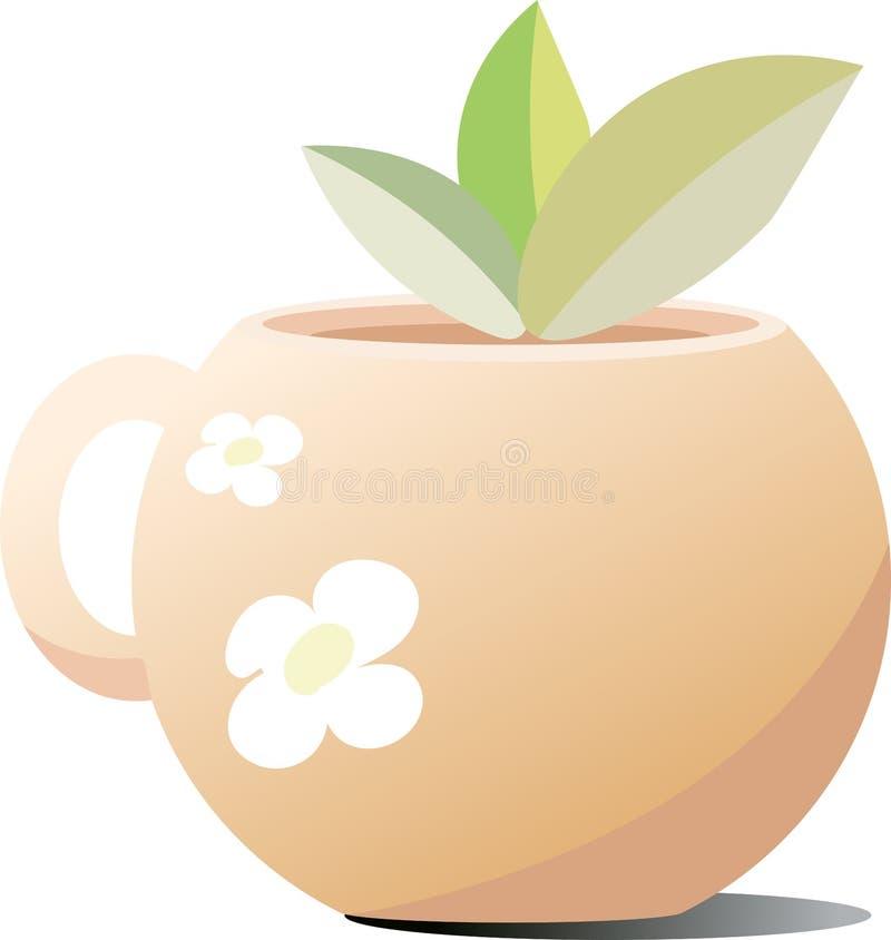 陶瓷杯子用茶 以茶花的形式图 黏附在茶外面的茶叶 免版税库存图片