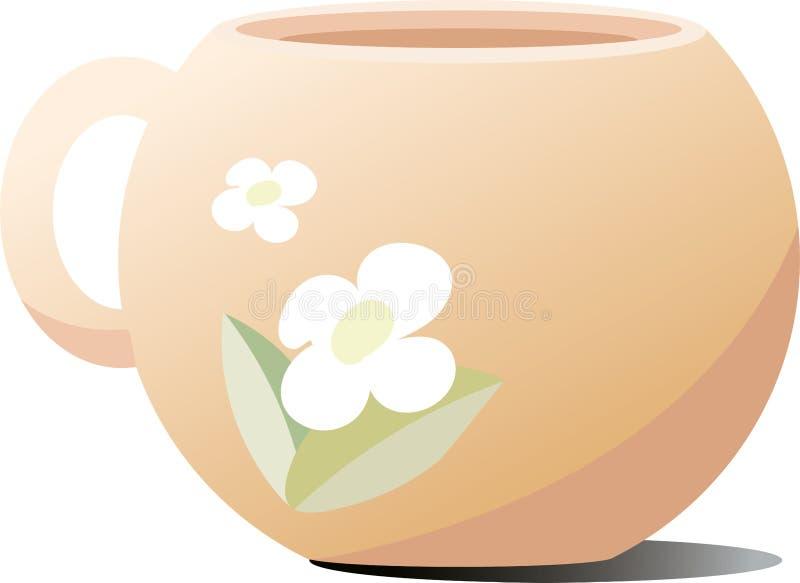 陶瓷杯子用茶 以茶花的形式图 库存照片