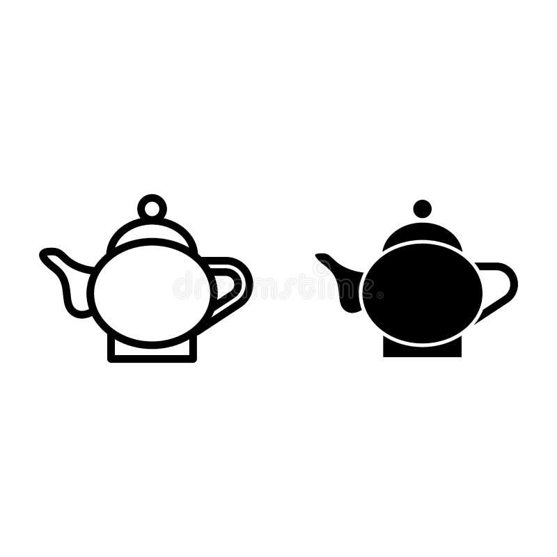 陶瓷水壶线和纵的沟纹象 瓷茶壶在白色隔绝的传染媒介例证 咖啡罐概述样式 库存例证