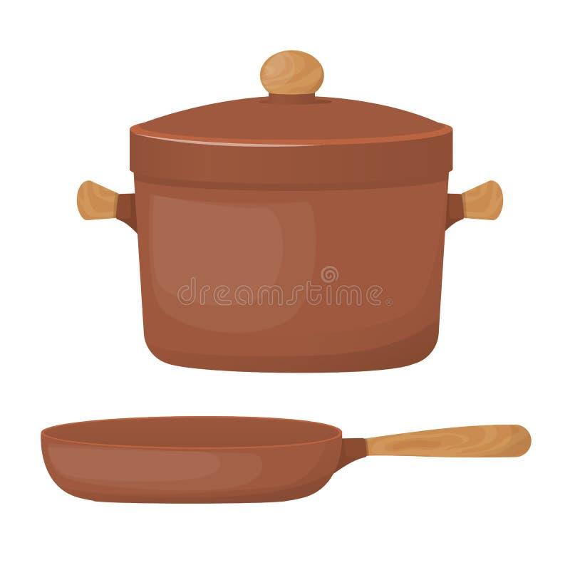陶瓷瓦器 美丽的黏土平底深锅和煎锅 向量例证