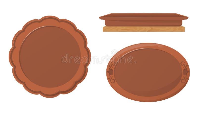 陶瓷瓦器 美丽的黏土板台,与装饰品的盘子 库存例证