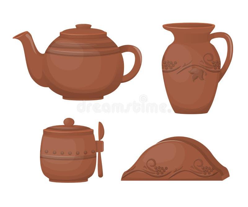 陶瓷瓦器 美好的厨具,陶瓷茶具,与装饰装饰品 皇族释放例证