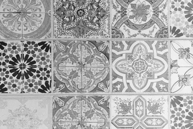 陶瓷砖兆集合 有黑白和几何样式的葡萄酒瓦片 库存例证