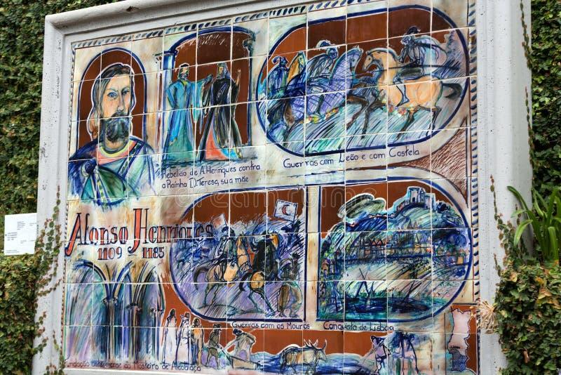 陶瓷砖图片拼贴画在植物园丰沙尔,马德拉岛Monte里  Portuga的历史 免版税库存照片