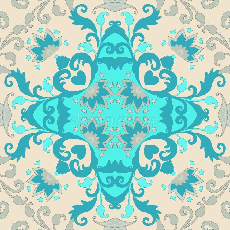 陶瓷砖 葡萄牙语,摩洛哥,西班牙,印度动机 抽象佩兹利和花装饰品 枕头套的样式 库存例证