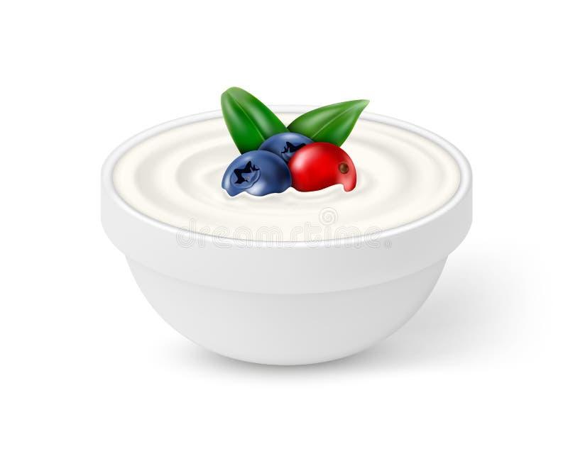 陶瓷碗白色酸奶用莓果 库存例证