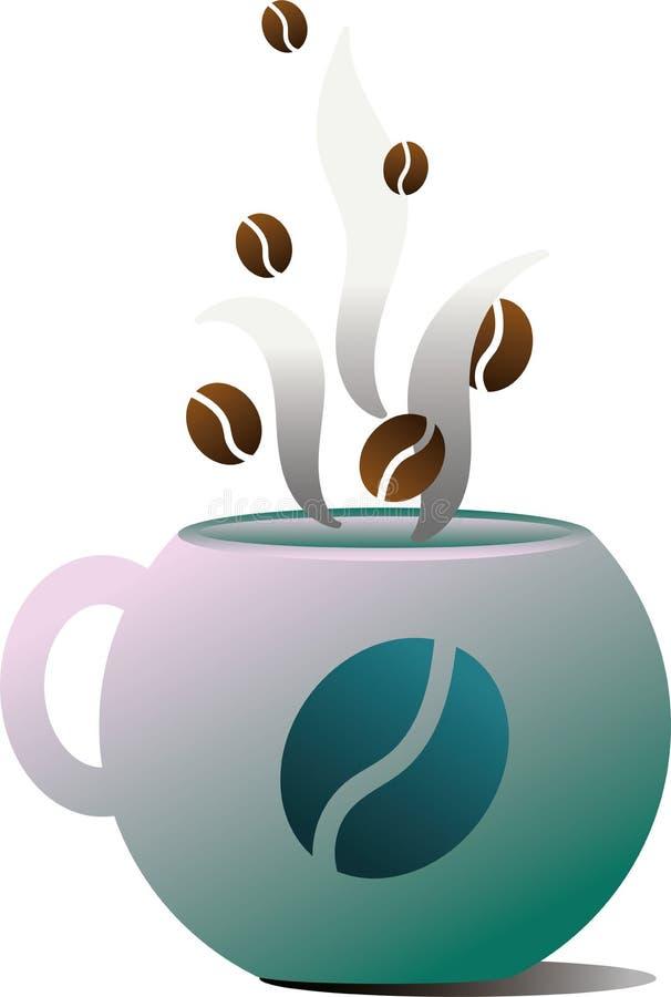 陶瓷绿色杯子用咖啡 饮料的蒸发的仿效以咖啡豆的形式 库存照片