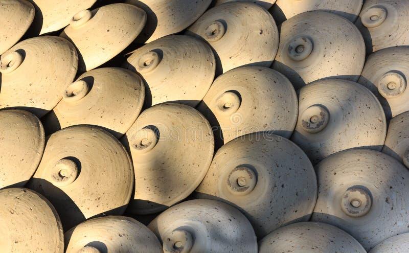 陶瓷罐,瓶子黏土开花, Thanh Ha工艺品村庄,会安市,越南 库存照片