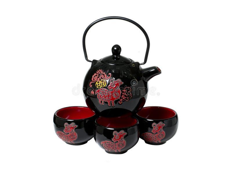 陶瓷茶壶whith每茶的杯子在中国式 库存图片