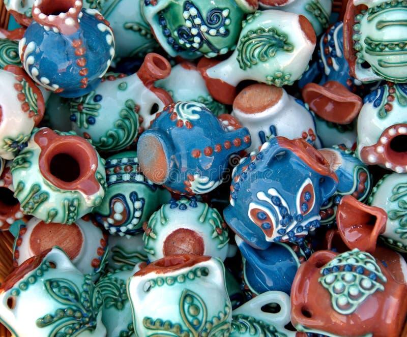 陶瓷从罗马尼亚 传统罗马尼亚语色的瓦器 库存照片