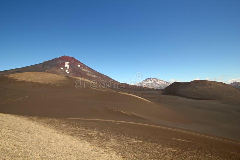 隆基迈火山和tolhuaca火山,智利 库存照片