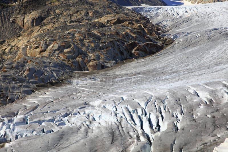 隆河的冰川 库存照片