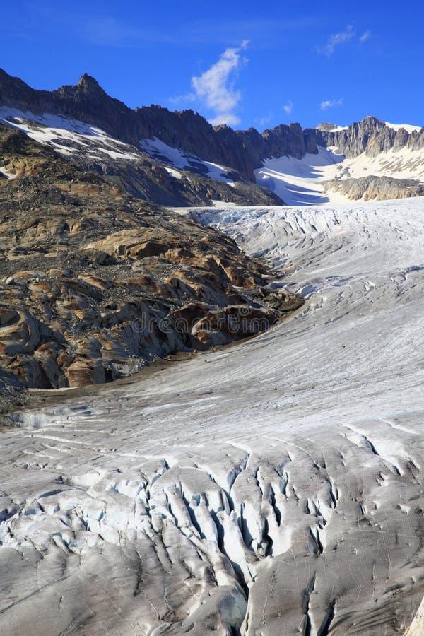 隆河的冰川 免版税库存照片
