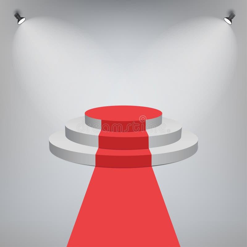 隆重在奖的一个阶段指挥台与光线影响 与台阶的白色圆的阶段 例证垫座向量赢利地区 向量 皇族释放例证