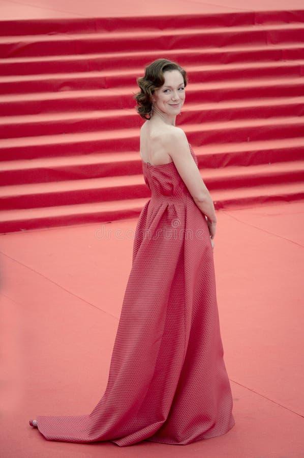 隆重的Daria莫罗兹在莫斯科国际电影节的开头37前 免版税图库摄影