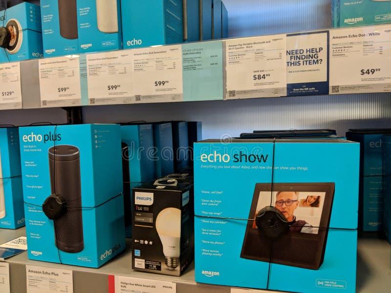 随声附和展示、菲利普颜色和回声加号在显示最好购买 库存图片